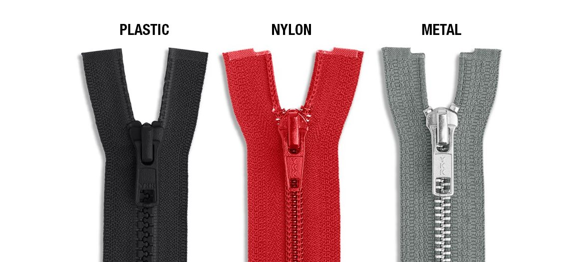 Molded Plastic, Nylon Coil, Metal Zipper Material Comparison