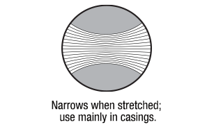 Braided Elastic Narrows When Stretched; Use Mainly In Casings