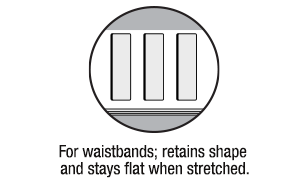 No-Roll Waistband Elastic For Waistbands; Retains Shape and Stays Flat When Stretched