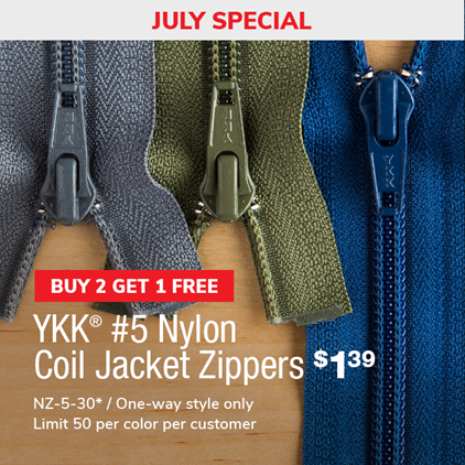 Buy 2 Get 1 Free - #5 Nylon Coil Jacket Zippers