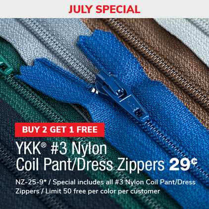 Buy 2 Get 1 Free - #3 Nylon Coil Zippers