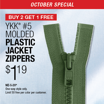 Buy 2 Get 1 Free - #5 Molded Plastic Jacket Zippers