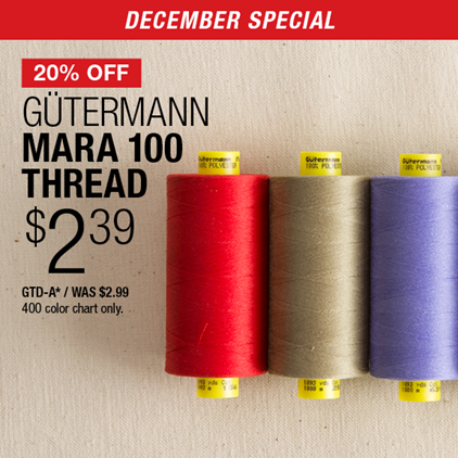 20% Off Gütermann Mara 100 Thread $2.39 GTD-A* / Was $2.99 400 color chart only.