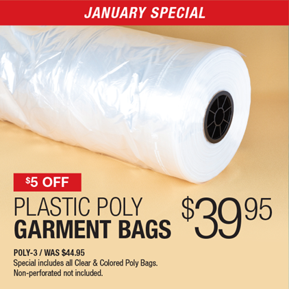 $5 Off Plastic Poly Bags $39.95 / POLY-3 / WAS $44.95 / Special includes all Clear & Colored Poly Bags / Non-perforated not included.