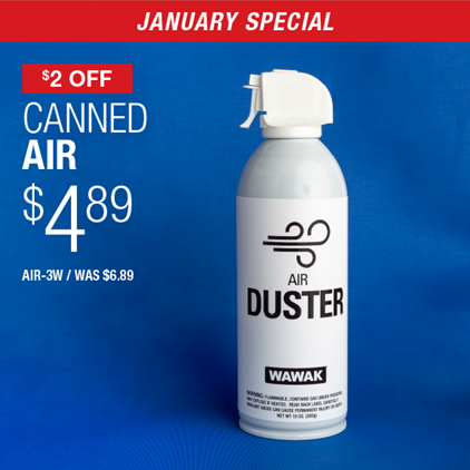 $2 Off Canned Air $4.89 / AIR-3W / WAS $6.89.