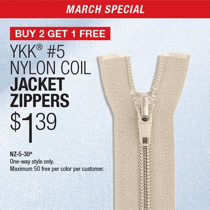 Buy 2 Get 1 Free - YKK® #5 Nylon Coil Jacket Zippers NZ-5-30* / One-way style only / Maximum 50 free per color per customer.