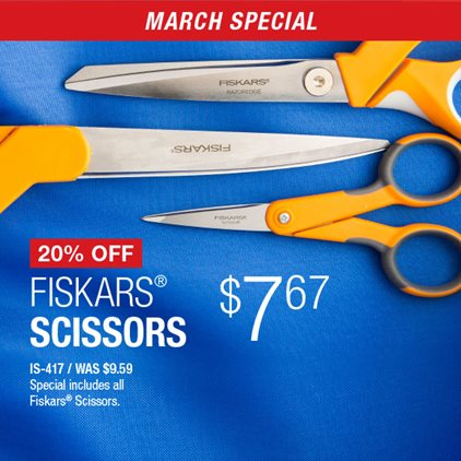 20% Off Fiskars Scissors $7.67 IS-417 / Was $9.59 / Special includes all Fiskars® Scissors.