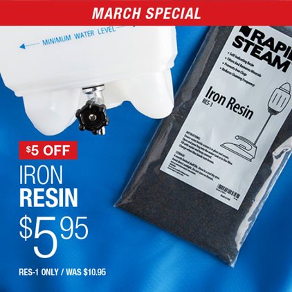 $5 Off Iron Resin $5.95 RES-1 Only / Was $10.95.