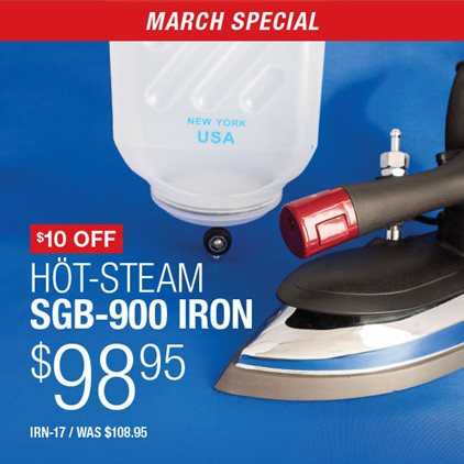 $10 Off Hot-Steam SGB-900 Iron $98.95 IRN-17 / Was $108.95.